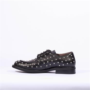 Marco Moreo Laced Stud Brogue Lynn - Black Leather