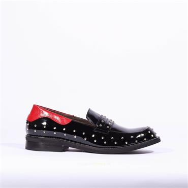 Marco Moreo Slip On Stud Loafer Lynn - Black Patent Combi