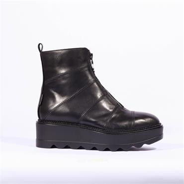 Marco Moreo Front Zip Wedge Boot Dee - Black Leather
