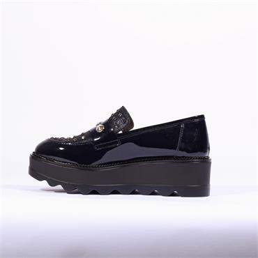 Marco Moreo Slip On Stud Wedge Shoe Dee - Navy Patent