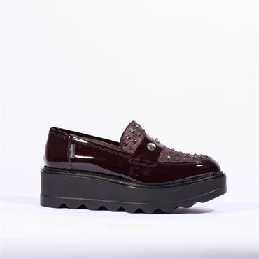 Marco Moreo Slip On Stud Wedge Shoe Dee - Wine Patent