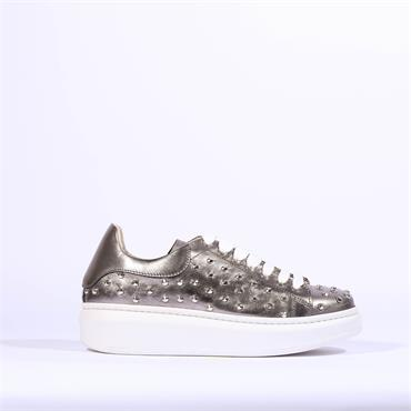 Marco Moreo Stud Lace Trainer Eros - Silver Metallic