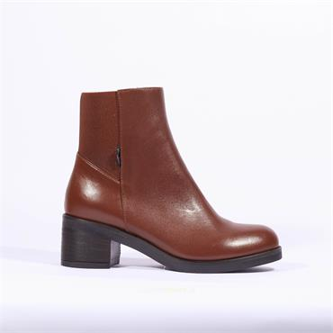 Marco Moreo Block Heel Ankle Boot Shelly - Cognac Leather