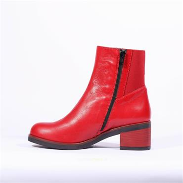 Marco Moreo Block Heel Ankle Boot Shelly - Red Leather