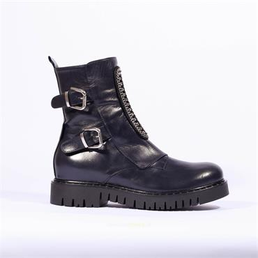 Marco Moreo Jewel Detail Strap Boot Kate - Navy Leather