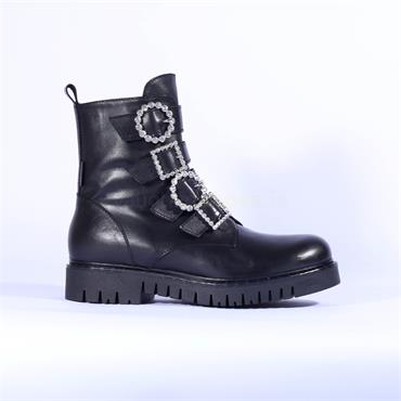 Marco Moreo Diamante Buckle Boot Kate - Black Leather