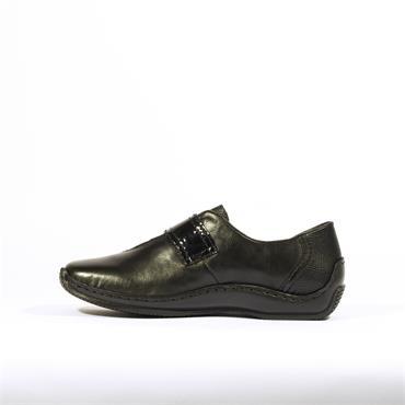 Rieker Cristallino With Patent Strap - Black Combi