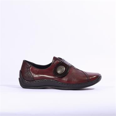 Rieker Cristallino With Patent Strap - Red Combi Lea