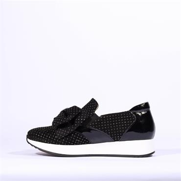 Marco Moreo Bow Detail Trainer Enrica - Black Suede Studs
