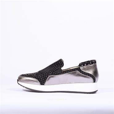 Marco Moreo Slip On Trainer Enrica - Black Silver