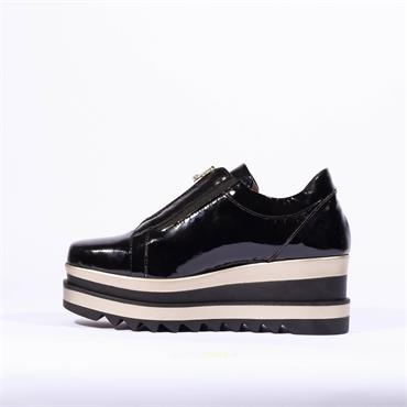Marco Moreo Zip Front Platfrom Shoe Luna - Black Patent