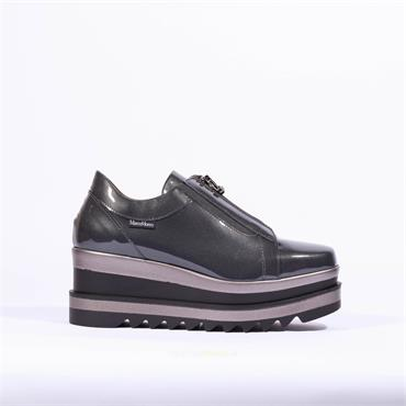Marco Moreo Zip Front Platfrom Shoe Luna - Grey Patent