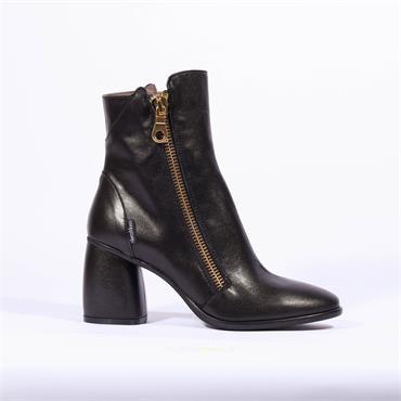 Marco Moreo Block Heel Zip Boot Guilia - Black Leather