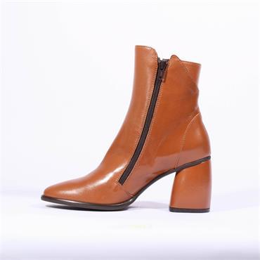 Marco Moreo Block Heel Zip Boot Guilia - Tan Leather