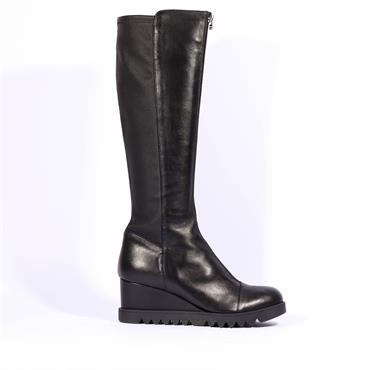 Marco Moreo Knee High Zip Boot Chiara - Black Leather