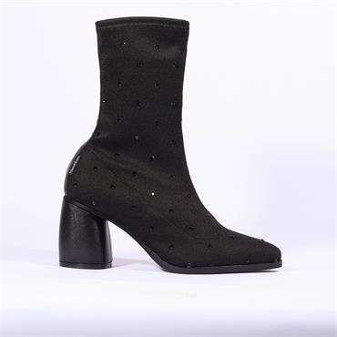 Marco Moreo Diamante Sock Boot Aurora - Black Fabric
