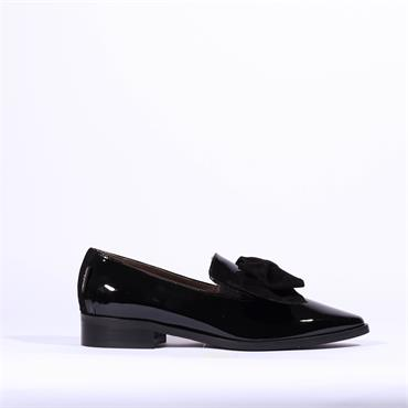 Marco Moreo Point Toe Bow Loafer Bianca - Black Patent