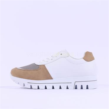 Rieker Cleated Sole Laced Trainer - White Combi