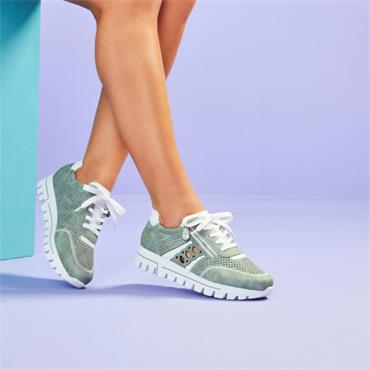 Rieker Perforated Trainer With Side Zip - Green