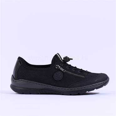 Rieker Comfort Shoe Elasticated Lace - Black