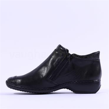 Rieker Aroma Twin Zip Fleece Lined Boot - Black Combi