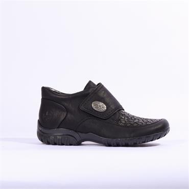 Rieker Ottawa Fur Lined Velcro Strap - Black Combi