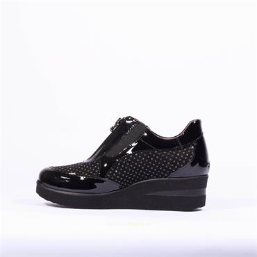 Marco Moreo Wedge Zip Shoe Lola - Black Patent