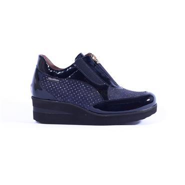 Marco Moreo Wedge Zip Shoe Lola - Navy Patent Combi
