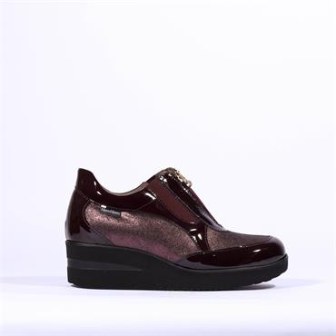 Marco Moreo Wedge Zip Shoe Lola - Wine Metallic