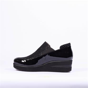 Marco Moreo Slip On Gusset Wedge Lola - Black Patent Combi