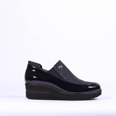 Marco Moreo Slip On Gusset Wedge Lola - Navy Patent Combi