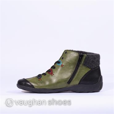 Rieker Fleece Top Laced Ankle Boot Eagle - Green