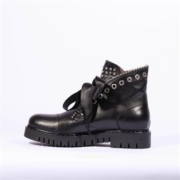 Marco Moreo Stud Military Boot Kate - Black Leather
