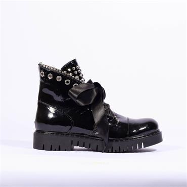Marco Moreo Stud Military Boot Kate - Black Patent