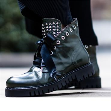 Marco Moreo Stud Military Boot Kate - Green Leather