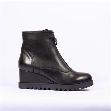 Marco Moreo Front Zip Wedge Boot Chiara - Black Leather