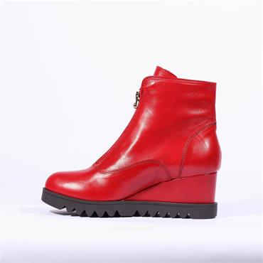 Marco Moreo Front Zip Wedge Boot Chiara - Red Leather