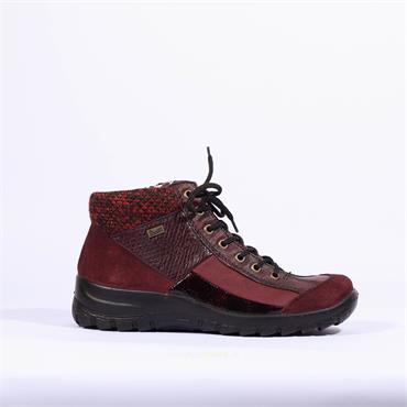 Rieker Tex Lace Ankle Boot Samtcalf - Wine/multi