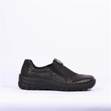 Rieker Tex Slip On Shoe With 2 Elastics - Black Leather