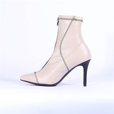 Marian Front Zip High Heel Boot Dakota - Beige Leather