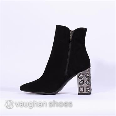 Marian Block Heel Boot Jewel Detail - Black Suede