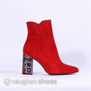Marian Block Heel Boot Jewel Detail - Red Suede