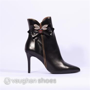 Marian High Heel Boot Brooch Bow Detail - Black