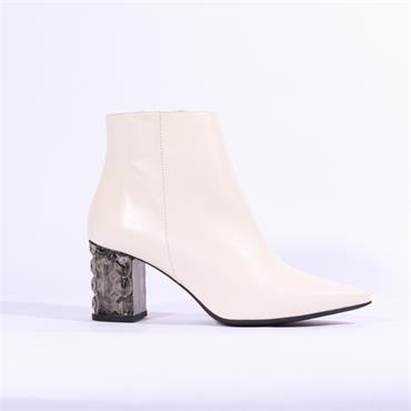 Marian  Crystal Heel Boot Cadence - White Leather