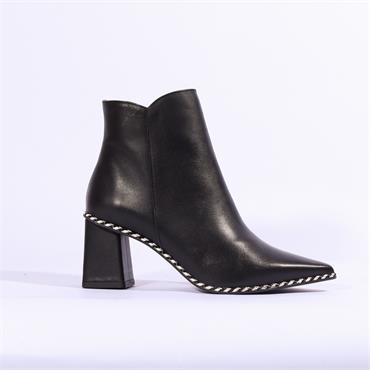 Marian Pointed Toe Boot Weave Trim - Black Leather