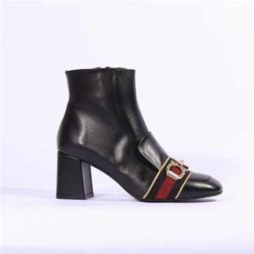 Marian Block Heel Boot Loafer Toe Cielo - Black Leather