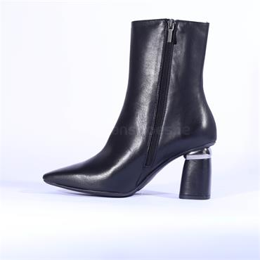 Marian Block Heel High Ankle Boot Duna - Black Leather