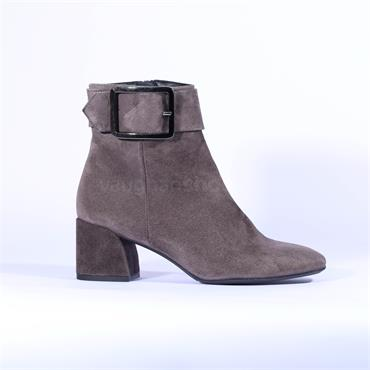 Marian Block Heel Big Buckle Boot Danna - Grey Suede