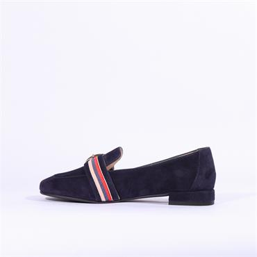 Marian Buckle Detail Suede Loafer Dora - Navy Suede