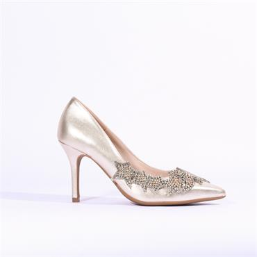 Marian Star Detail Leather Heel Diana - Gold Metallic